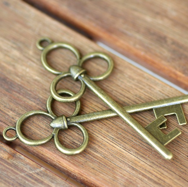 Schmuckanhänger Schlüssel, Steampunk, 2Stck., ca.7cm